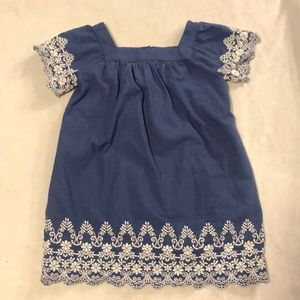 Oshkosh chambray denim style dress with lace trim
